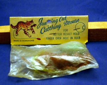 Vintage Jumping Cat Catthing Mouse Novelty Dime Store Children's Toy, 1960s
