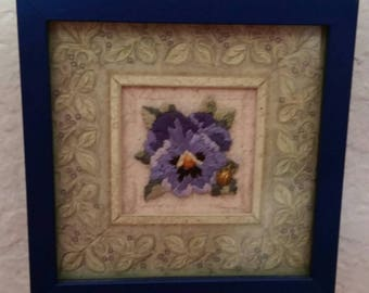 Traditional, non machine, Hand Embroidered,  Satin Stitch Pansy with Ladybug, cobalt blue frame by Rokstudy, Ju's Creations.