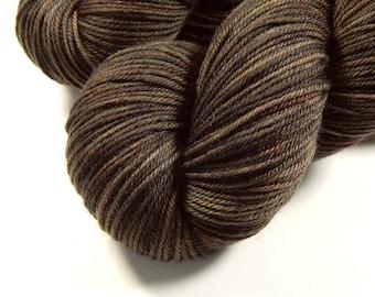 Hand Dyed Yarn, Sport Weight Superwash Merino Wool Yarn - Bark Tonal - Indie Dyed Knitting Yarn, Sock Yarn, Semi Solid Brown