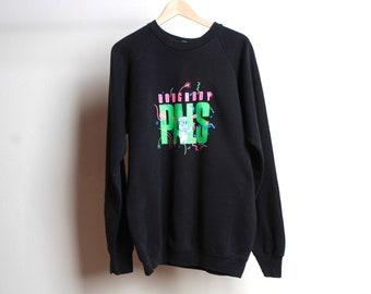 vintage 90s y2k DOUGHBOY PALS neon green pink wild one BLACK large oversize vintage sweatshirt