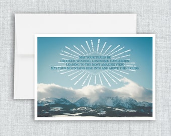 """greeting card, quote, inspirational quote, greeting card set, mountains, landscape, blank inside, blue, nature, photo art - """"Crooked Trails"""""""