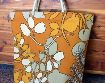 Floral Print Tote/Orange/Brown/Cream/rust/Boho Bag/Large purse/Handbag/Luggage/Shoulder Bag/Carry-all/Handled Tote Bag/Carry-on/Lined Fabric