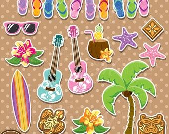 HAWAIIAN Sticker Clip Art / Hawaii Theme Clipart Downloads / Luau Clip Art Vector Clip Art, Beach Vacation, Tropical Clipart