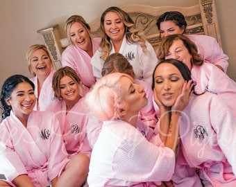 MONOGRAMMED ROBES - Blush Cotton Waffle Bridesmaid Robes - Personalized Robes - Spa Party - Bachelorette Robes - Dressing Gowns - Kimonos