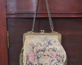 Handbag Brocade Handbag Turn of the Century French Country Scene Free Shipping