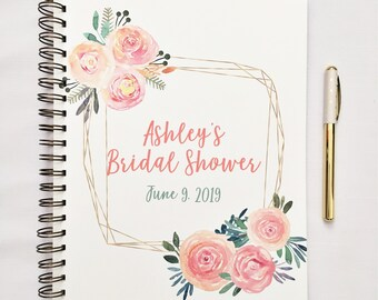 Personalized Bridal Shower Journal, bridal shower guest book, gift record for shower, record gifts for bride, bridal shower gift for bride