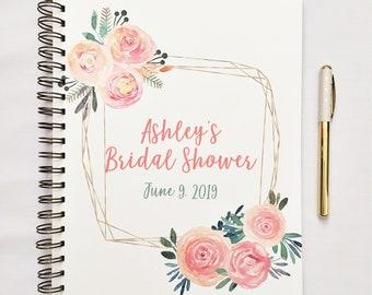 Personnalisé Bridal Shower Journal, livre d'or de douche nuptiale, cadeau dossier pour douche, enregistrer des cadeaux pour la mariée, cadeau de douche de mariage pour mariée