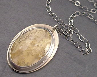 Arabella Necklace - Moss Agate, Sterling Silver and Brass