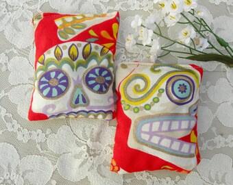 2 Lavender Scented Sachets, skull & flower fabric, gold glitter, like new, vintage