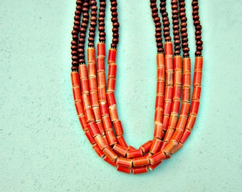 Five Strand Dark Wood and Bright Coral Ceramic Beaded Long Convertible Adjustable Necklace: Sultan