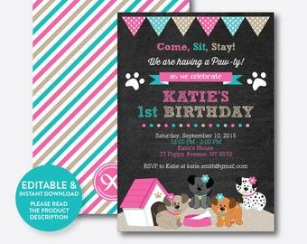Instant Download, Editable Puppy Birthday Invitation, Dog Birthday Invitation, Dog Invitation, Puppy Invitation, Pink, Chalkboard (CKB.290)