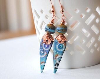 Blue Teardrop Earrings, Elongated Earrings, Polymer Clay Earrings, Wire Wrapped Earrings, Circle Design, Spiral Earrings
