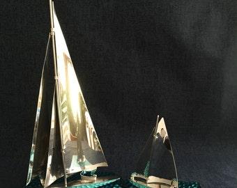 1930's Art Deco Silver Sailing Ships