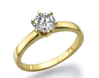 Engagement Ring Band, 1.5 CT Round Solitaire Engagement Wedding Ring in Solid 14k Yellow Gold