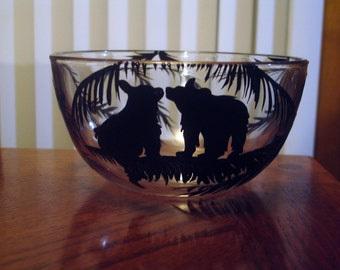 Hand painted bear cereal bowl