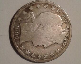 1906 D   Barber Half Dollar - VG Condition