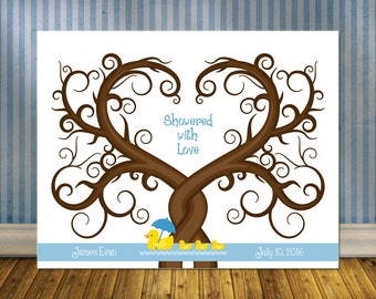 Cute Baby Shower Guestbook Alternative, Baby Shower Thumbprint Tree,  Nursery Wall Print, Rubber Duckie Fingerprint Guest Tree