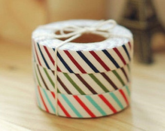 Oblique Line Stripe Adhesive Fabric Tape - Red / Sky Blue (0.6in)