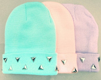 Pastel Grunge Beanie // Triangle Studded Pastel Beanies // Blue Pink Purple Skullcap Beanies // Alternative Accessories