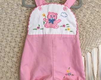 Vintage baby romper, vintage baby jumper,  baby overalls, folkie baby, boho baby, hippie baby, bohemian baby, baby girl shower, pink