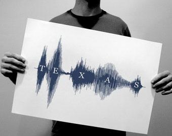 Texas - Sound Wave & Voice Art State Print - Modern Soundwave Design