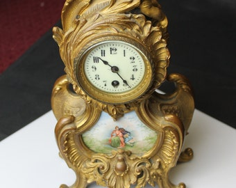 a812 Antique Vintage Beautiful 1880's-1890's French 8-day Enamel clock