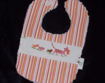 Cream Kitties and Stripes Chenille Bib