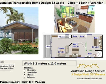 52 Gecko 52 M2 | 2 Bedroom | 2 Small Home Design   Concept House Plans