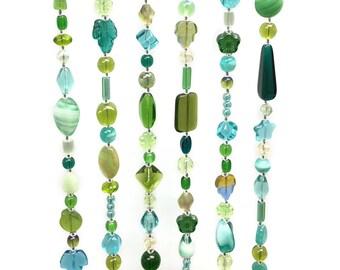 Beaded Curtain Blue Green, Suncatcher, Window Curtain, Door Curtain, Bohemian Curtain, Wall Art Deco, Set of 6pcs