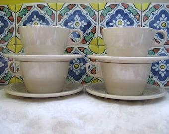 4 Texas Ware Tan Vintage Melmac Cups & Saucers