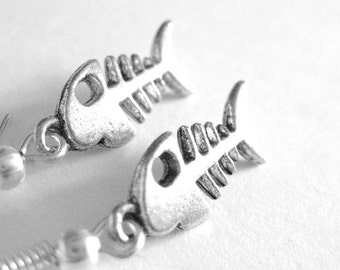 Fishbone Earrings - Sterling Silver Fish Bone Jewelry -  Fish Skeleton Earrings - Goth Jewelry - Gothic Fashion 062