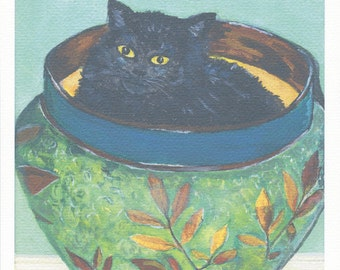 Cat Print - Original Black Cat Painting Ink Jet Print on Lightly Textured Strathmore Paper.