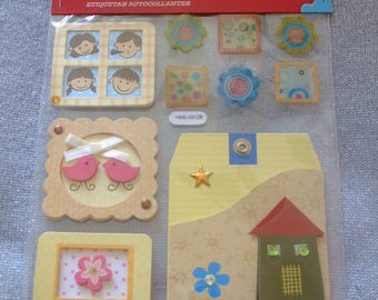 3D embossed stickers adhesive theme family children