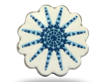 White Ceramic Door Knob with Blue Decorative Design & Scalloped Edge, For a Beach House or Summer Home, Unique Cabinet Pull or Drawer Handle