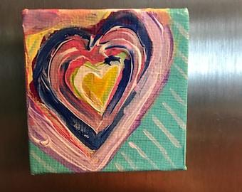 Hand painted fridge magnet/ acrylic canvas refridgerator magnet/ painted magnet/ abstract heart magnet/bold heart magnet