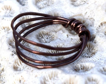Patina Copper Ring, Four Strand, Jewelry, Wire Ring