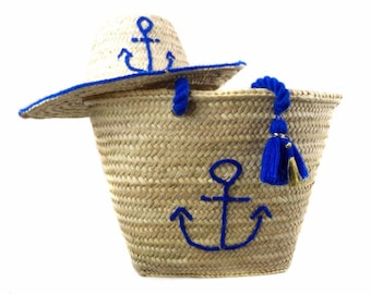 Navy hat and basket