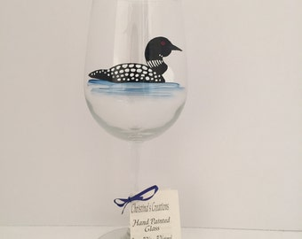 Hand Painted Wine Glass, Loon, Lake, Painted Glass, Glass Art