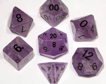 Amethyst Gemstone Polyhedral Dice Set:  Hand Carved with Quality! Full-Sized 16mm. Great for DnD RPG Dungeons and Dragons