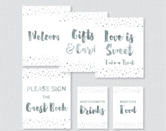 Gray Bridal Shower Table Signs - Printable White and Faux Silver Foil Bridal Shower Decorations - Welcome Sign, Favor Sign, etc 0010-S