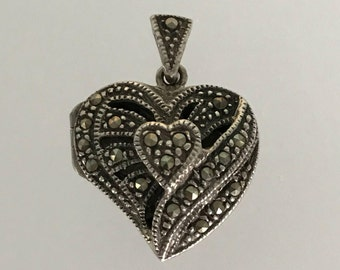 "Vintage Sterling Silver And Marcasite Heart Locket Pendant in Art Deco Style. Valentines/ Bridesmaids / Anniversary Gift . .75""x.75"". 5.9g."