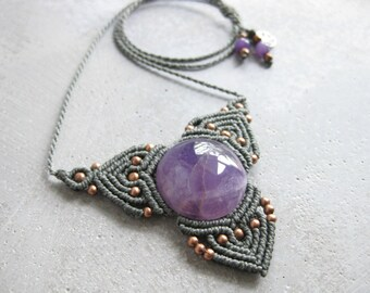 Amethyst Macrame Necklace . Elven Quartz Pendant . Fiber Textile Jewelry . Design by raiz