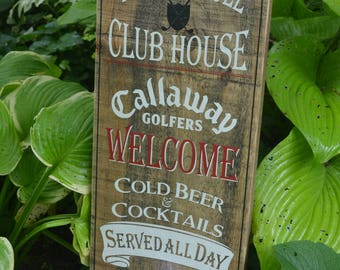Rustic Wooden Sign Golf Sign 19th Hole Club House Sign Rustic Wood Golf Sign Barnboard Sign Man Cave Sign Golfers Gift