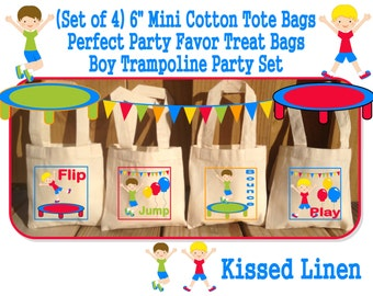 Fun Trampoline Park Gym Jump Play Bounce Birthday Party Treat Favor Gift Bags Mini Cotton Tote Children Kids Girls Boys