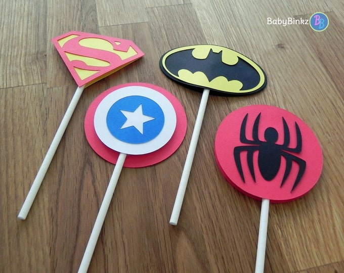 Die Cut Super Hero Logo Cupcake Toppers - superhero batman captain america spiderman superman comic birthday party decorations wedding