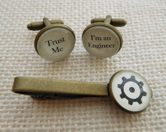 Trust Me - I'm an Engineer Cuff links and/or Tie Clip -Excellent Engineer Gift for an Engineer Cufflinks Tie Bar Free UK Shipping
