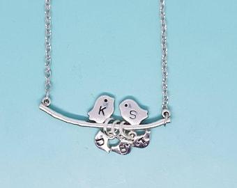 Family Bird Necklace, Birdie Necklace, Bird Necklace, 1-6 Baby Birds, Love Birds, Family Birds