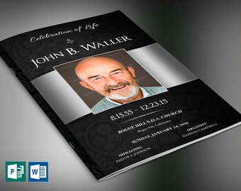 Black Silver Dignity Funeral Program Publisher Word Template