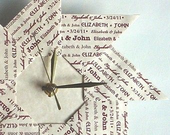 Memorable 1st Anniversary Or Wedding Gift - Origami Clock - With Maroon Type - Large