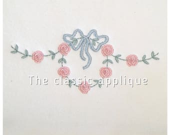 heirloom style rosette and vine swag with and without bow embroidery design files